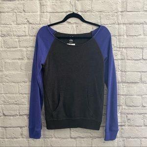 FOX Dark Gray Purple Wide Neck Sweatshirt